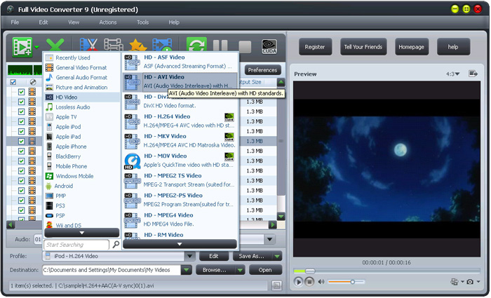Full Video Converter Free Software Interface: HD Video Converter