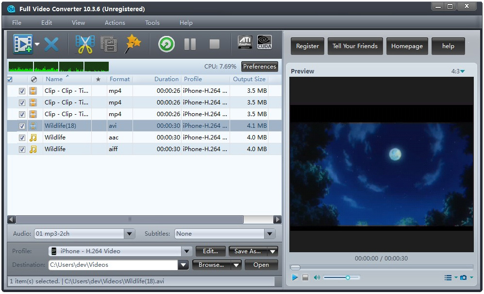 Full Video Converter has the capabilities to convert all popular video formats from HD to HD, HD to SD and SD to SD, transform between audio formats, extract audios or pictures from videos, and create video from photos.